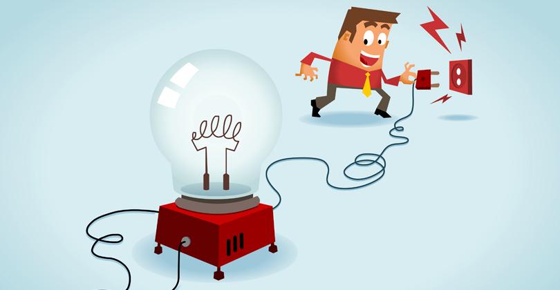 Ilustração de homem ligando as ideias na tomada
