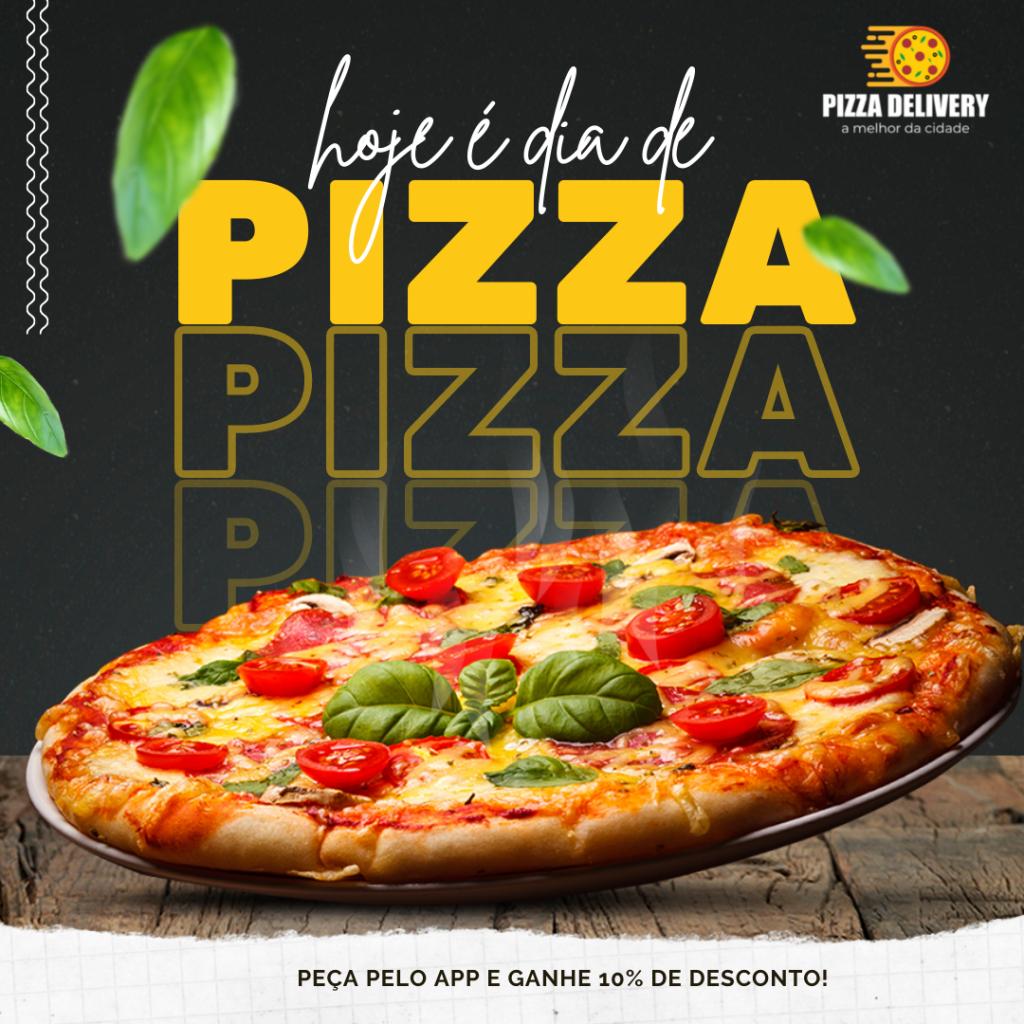 Arte para pizzaria finalizada, com uma pizza sobre a mesa, fundo preto e manjericão desfocado caindo de cima