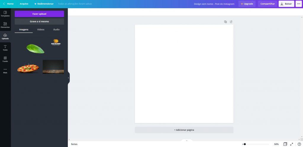 Tela de trabalho do Canva, com o menu Uploads aberto e algumas imagens adicionadas, prontas para serem trabalhadas