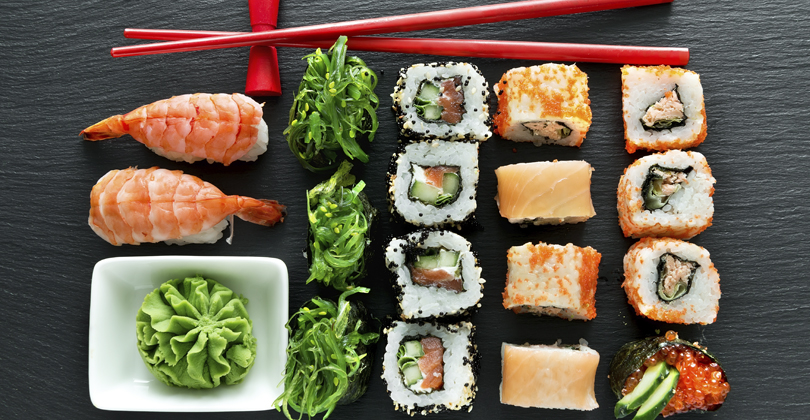 Opções de comida japonesa